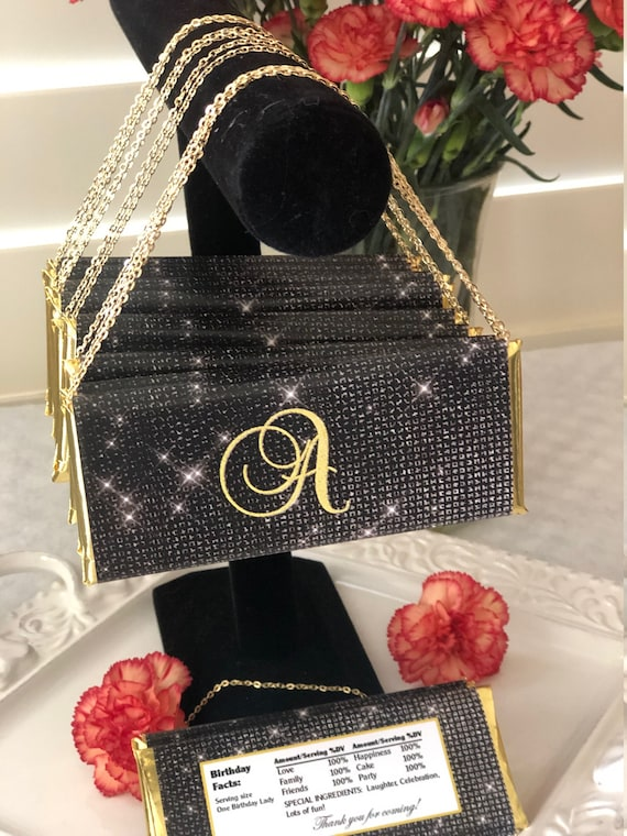 FULLY ASSEMBLED Black and Gold Chocolate Clutch Purse,Black and Gold Party theme Chocolate Purse Favor,Black and Gold Party Favor.Set of 20.