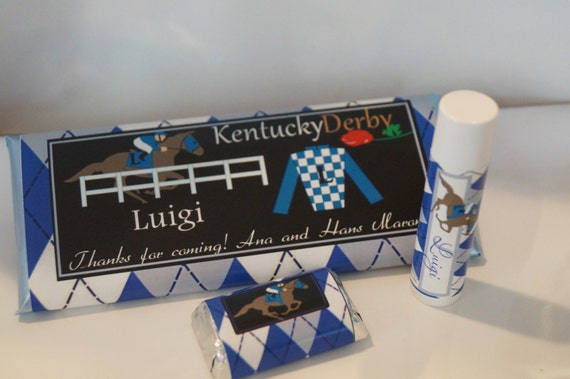Kentucky Derby party favors, pink and green woman or blue men horse race argyle, custom and personalized Kentucky Derby party. Set of 50.