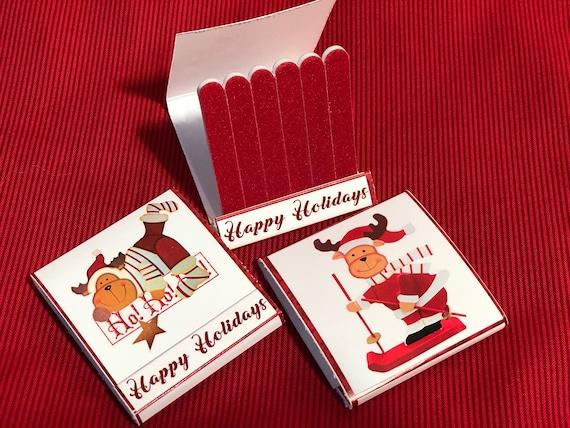 Moose Christmas nail file books,Santa Penguin nail file Books,Unique Christmas Stocking Stuffers ,Mini nail file books. Set of 5 per order
