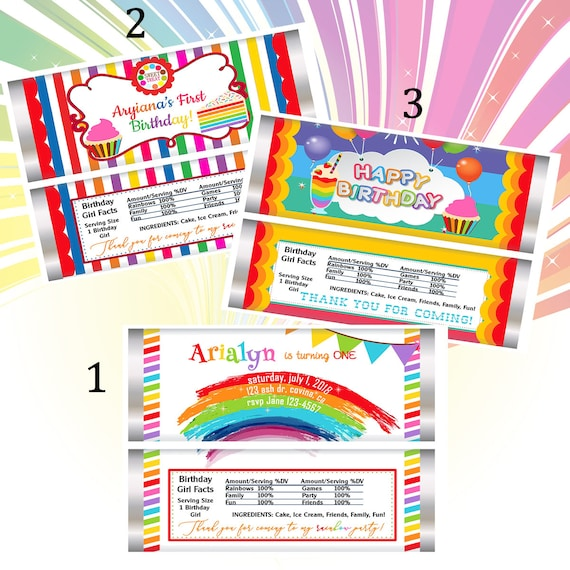 WRAPPER & FOIL ONLY. Rainbow theme birthday party Chocolate Wrappers, Rainbow Birthday Party, Rainbow Wrappers. Set of 20