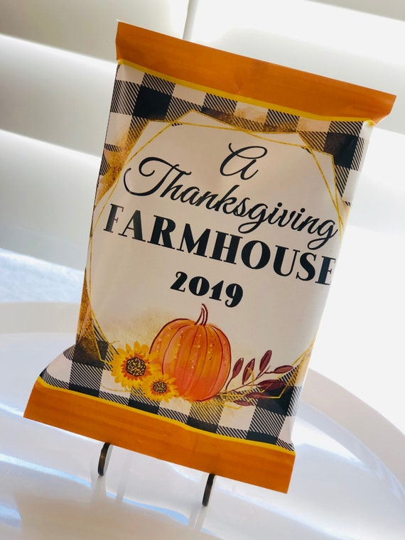 FULLY ASSEMBLED . Farmhouse Thanksgiving Chip Bags, Thanksgiving 2020 Chip Bags, Thanksgiving Guest Favors.  Set of 12