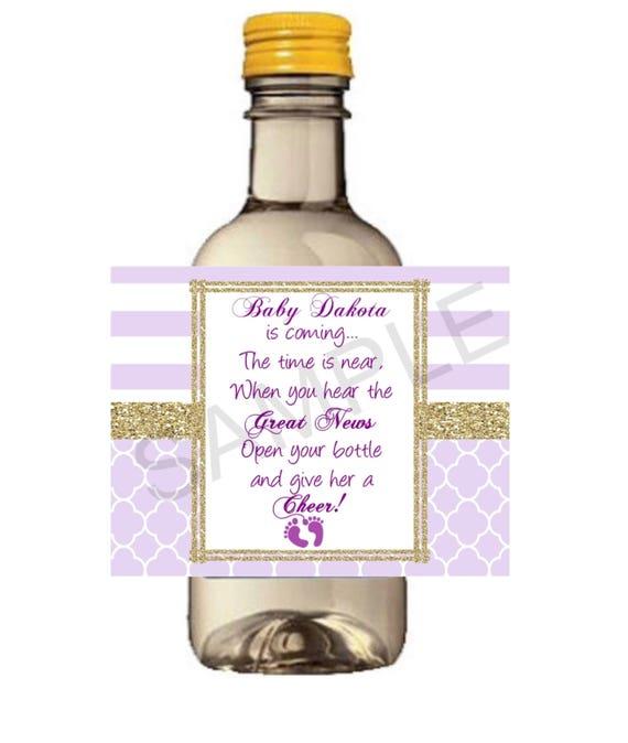 Mini Lavender Wine Bottle labels, Baby Shower, gender reveal Welcome Baby labels, Personalized custom Shower Wine Labels. Set of 9.