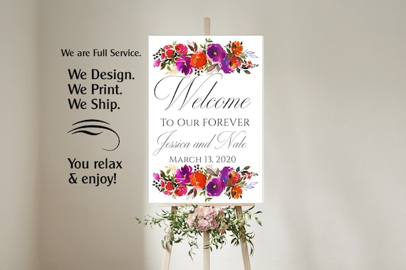 4 sizes available  Purple and Orange Welcome to our wedding poster,Welcome to our Forever Sign,Welcome to our wedding sign,Purple and Orange