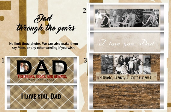 Father's Day Chocolate Bar and Wrappers, Personalized Father's Day Chocolate Bar Wrappers, Dad Through the  Years Wrapper. Set of 20.