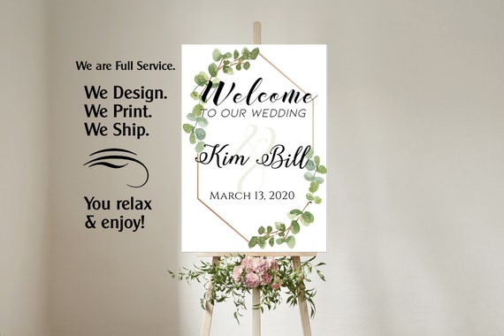 4 sizes available  Eucalyptus Welcome to our wedding poster, Eucalyptus Wedding Theme, Welcome to our Forever Sign, Wedding sign,