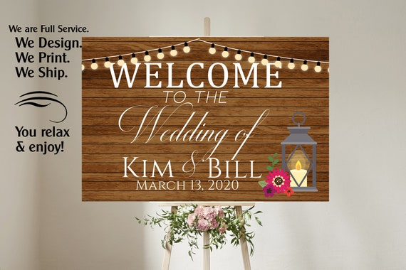 4 sizes available  Wood Faux Welcome to our wedding poster,Welcome to our Forever Sign,Welcome to our wedding sign, Wood and Lantern Sign.