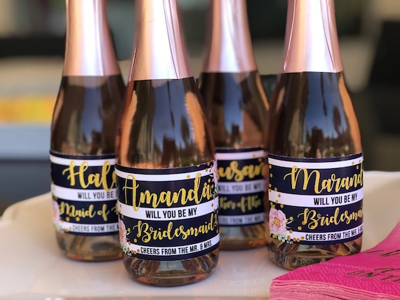 Pink and gold mini champagne bottle labels, Blue and white stripes Champagne labels, Bridesmaid champagne gifts . Set of 9.