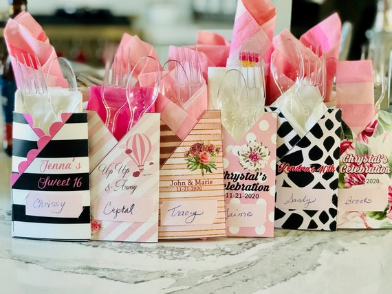 Assortment of Designs for Personalized Utensil Holders, Pink Theme Party Paper Utensil Holders, Utensil Holders for all occasion.Set of 12.