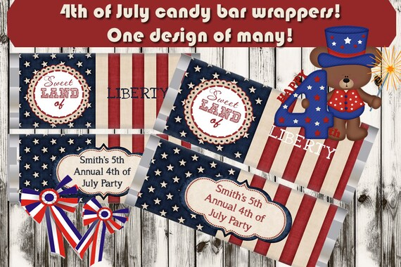 Patriotic candy bar wrappers, personalized candy bar wrappers, 4th of July candy bar wrappers, July 4th Party favors. memorial day Set of 20