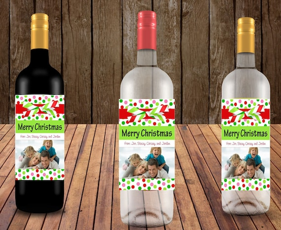 Christmas Wine Labels, Holiday Wine labels Personalized Wine Labels, Photo Wine Labels, Christmas Photo wine labels,  Set of 4.
