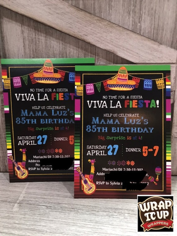 Viva La Fiesta Birthday Invitations, Cinco de Mayo Invitations, Fiesta Birthday Invitations, Mexican Fiesta, Mexican Party. Set of 24