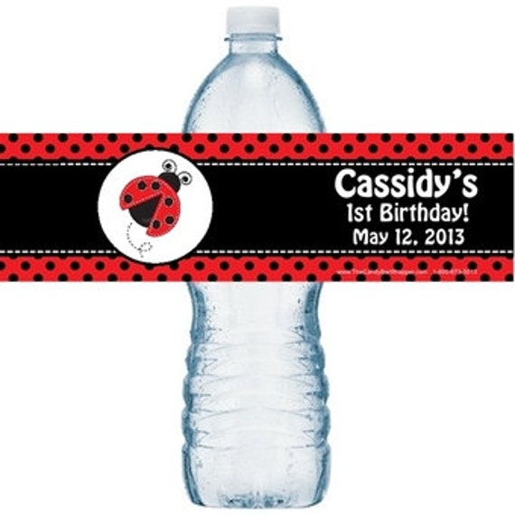 Ladybug water bottle labels, birthday labels, lady bug labels, water bottle label.