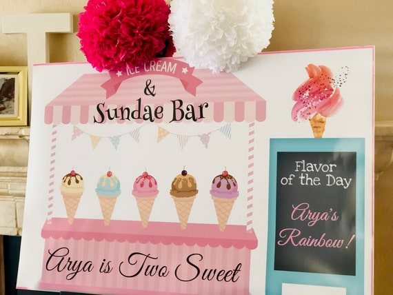 Ice Cream Poster, Ice Cream Party Poster, Ice Cream Bar Poster, Two Sweet Party Poster Ice Cream and Sundae Bar Poster.