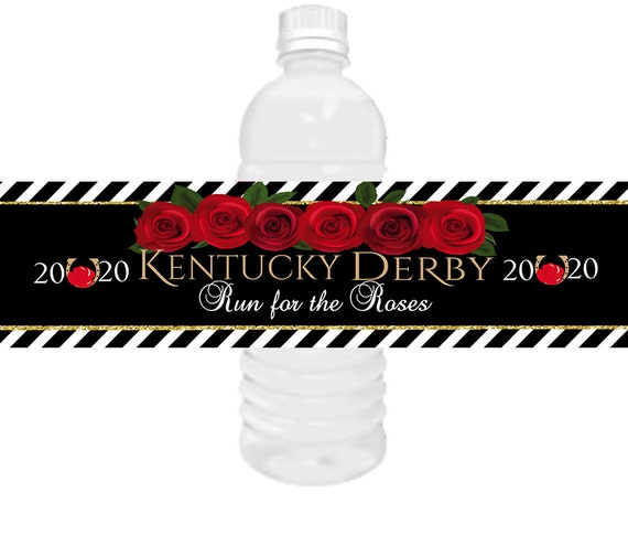 SHIPS FAST! Kentucky Derby Horse Racing water bottle labels,Kentucky Derby water bottle labels,Kentucky Derby party. 2 Sizes available.
