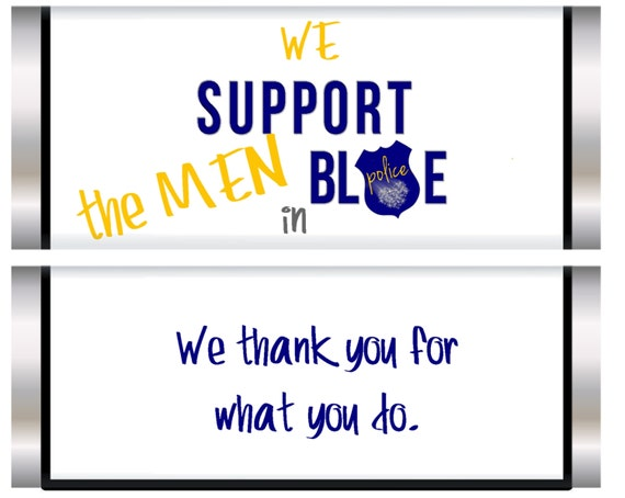 Support the Men in Blue candy bar favors, Blue Lives Matter, Support the Police,  Police candy bar favors.  Blue Line. Set of 20