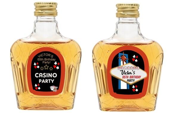 Small liquor bottle labels, Casino Night mini liquor bottles. Casino Party Whiskey mini bottle labels.Mini liquor labels. Set of 12 labels.