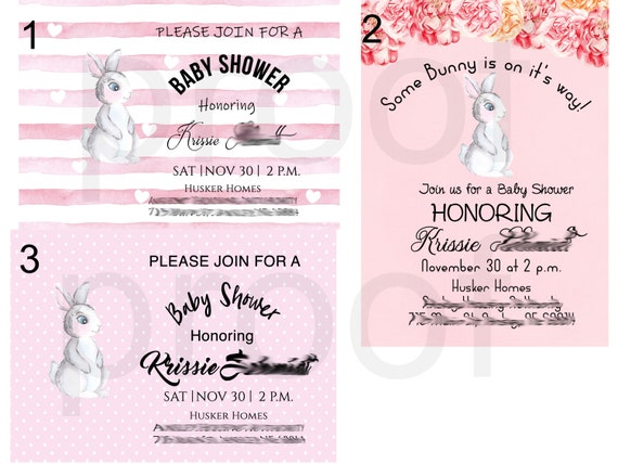Bunny Theme Baby Shower Invitations, Bunny Pink and White Baby Shower Invitations, Baby Shower Invitations Bunny Theme. Set of 24