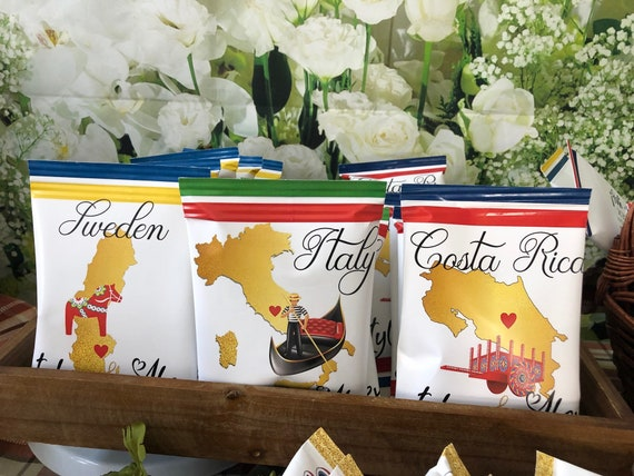 WRAPPER ONLY.  Destination Wedding Potato Chips, Costa Rica Chip Bags, Italy Chips Bags, Sweden Chip Bags, Ireland Chip Bags. Set of 12