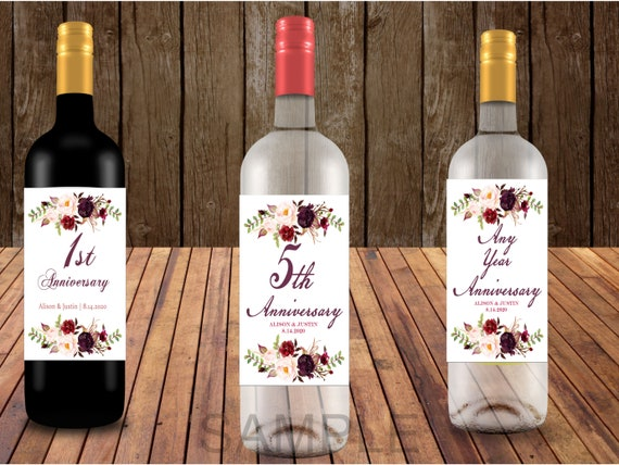 Anniversary Wine Bottle Labels, Anniversary Gift Wine Bottle Labels, Wedding Gift Wine Bottle Labels. Set of 6