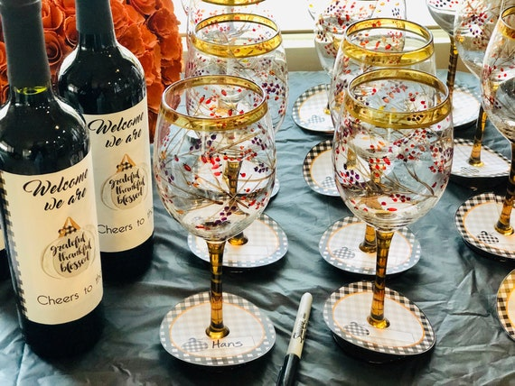 Thanksgiving  Wine Tags, Write your name Wine Tag, Friendsgiving Wine Tags, Thanksgiving Wine glass stem tags.  Set of 10