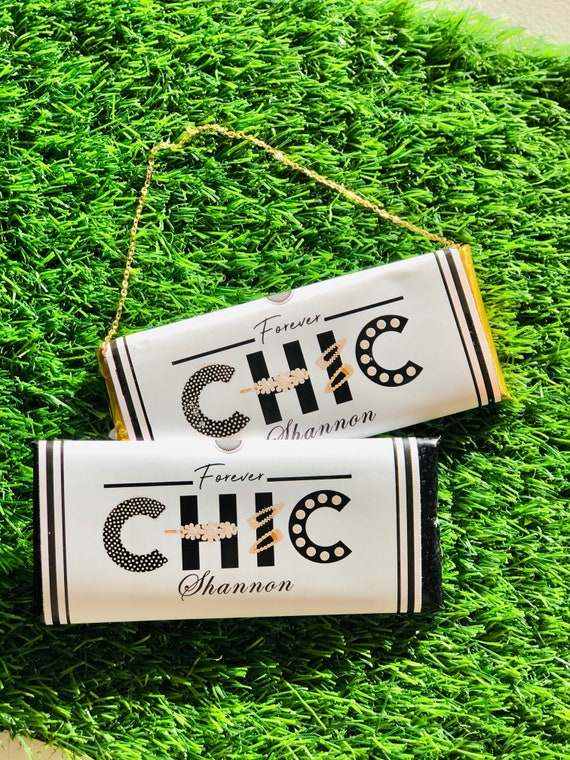 FULLY ASSEMBLED Chic Chocolate Bar Wrapper Favors, Chic Lady Chocolate Favors, Birthday Chic favors, Chic Chocolate Purse. Set of 20.