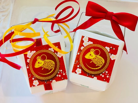 Chinese New Year Take Out Containers, Personalized Chinese New Year Take Out Containers , Year of the Rat Party Favors. Set of 25.