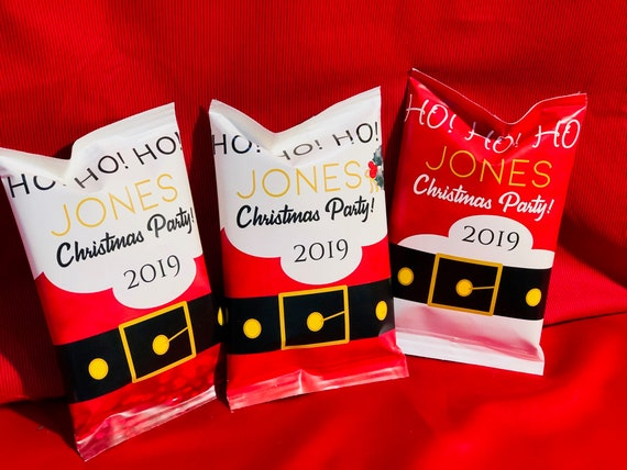 FULLY ASSEMBLED . Santa Belt Potato Chip Bags, Christmas Santa Chip Bags, Santa Clause Chip Bags, Christmas Potato Chip Bags. Set of 12