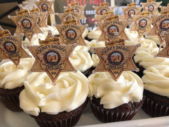 Various Styles Law Enforcement Cupcake toppers, Police Cupcake toppers, Sheriff's cupcake toppers.Deputy Sheriff cupcake toppers. Set of 24.