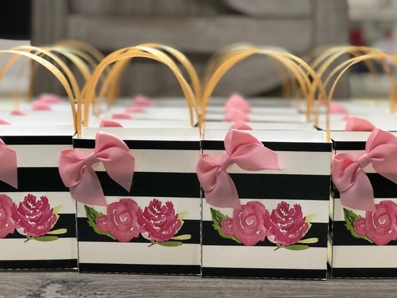 Kate Spade Inspired Black and White Stripe Treat Boxes,Baby Shower Treat boxes, Wedding Treat Boxes, Black white and Pink Stripe.  Set of 10