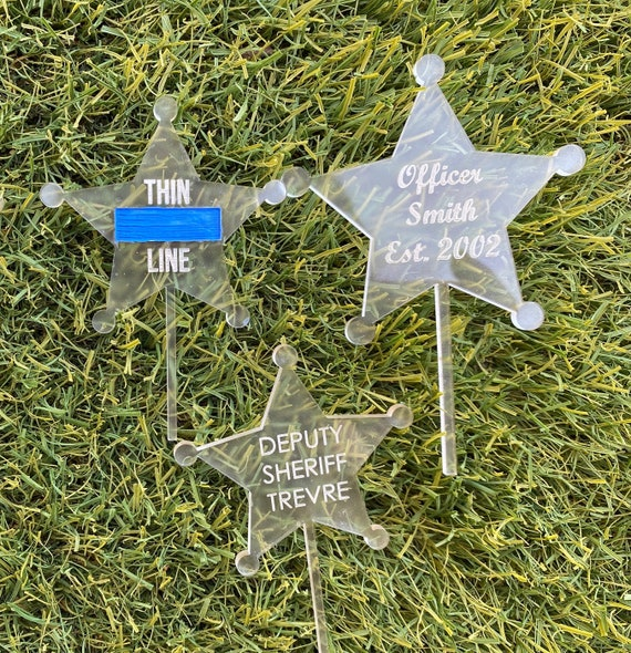 Engraved Cupcake Topper Thin Blue Line, Sheriff engraved cupcake topper, Thin Blue Line Acrylic cupcake topper. Price is for 1.