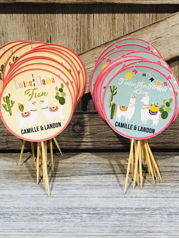 Llamas Cupcake Toppers, Twin Llamas Cupcake Toppers, Twice the Llama Love,Twice the Llama Love,Twins Cupcake Toppers,Twins Llamas. Set of 24
