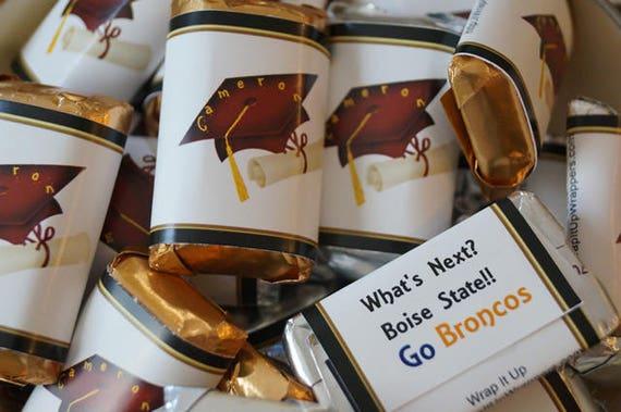 Graduation favors, Graduation Minis, Personalized candy bar wrappers, Hersheys Miniatures, Graduation party favors. Set of 50.
