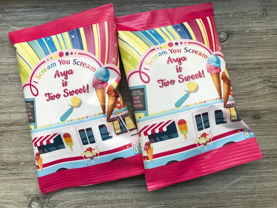 Ice Cream You Scream Chip Wrappers,  Ice Cream Party Theme, Ice Cream Party Chip Wrapper, Ice Cream Potato Chip Wrappers.  Set of 12