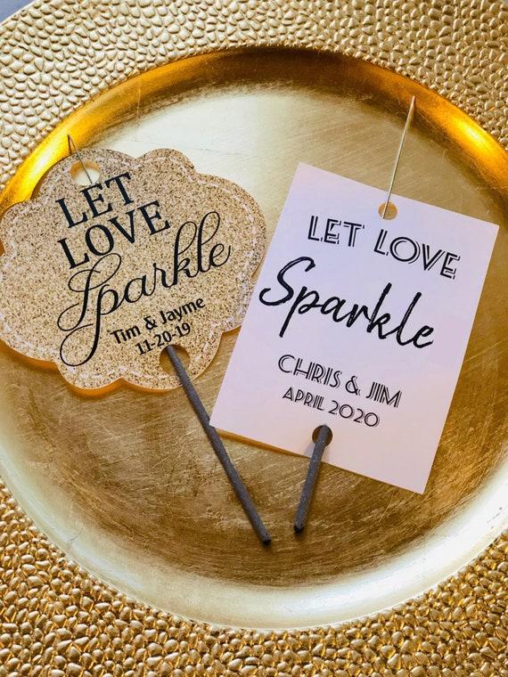 Let Love Sparkler Wedding Tags, Let Love Sparkle - Sparkler Tags, Gold Let Love Sparkle Sparkler Tags, Send Off Tags. Sold in sets of 25.