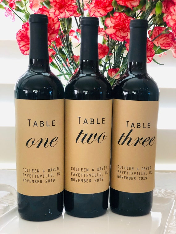 Wedding Wine Bottle Kraft Labels, Table Numbers Kraft Labels, Wedding Table Numbers Labels, wine Bottle Wedding Numbers. Set of 4, 6, 8, 10