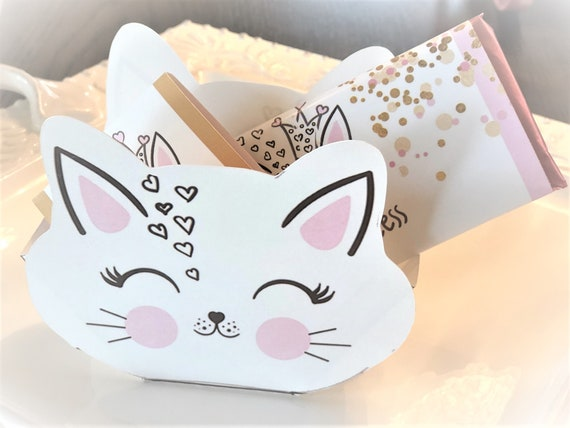 Cat Theme Party Favor Box, Cat Party Treat Box, Kitten Favor Box, Kitty Birthday Party Favor Box, Cat Birthday Treat Box.   Set of 10
