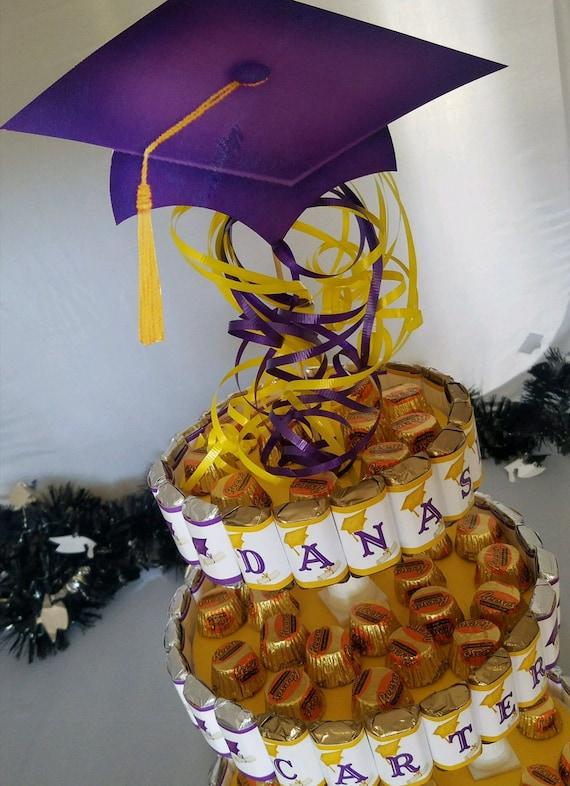 Graduation Candy Cake, graduation centerpiece, graduation dessert table, party favors, party decor, gift favors