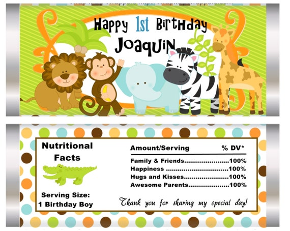 Set of 20. Jungle Theme Party Favor, candy bar wrappers, jungle party, jungle favors, birthday party, birthday boy, birthday jungle.