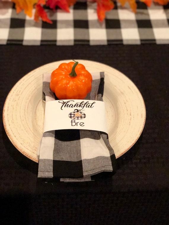Thanksgiving Napkin Wrap, Farmhouse Thanksgiving Utensil and Napkin Wrap, Black and White Plaid Thanksgiving Wrap,  Set of 6