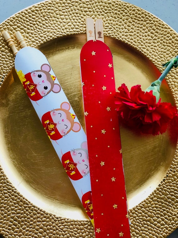 Chinese New Years Year of the Rat, Chinese New Year Chopstick holder, Chinese Year of the Rat Chopstick Sleeves. Year of the Rat.Set of 24.