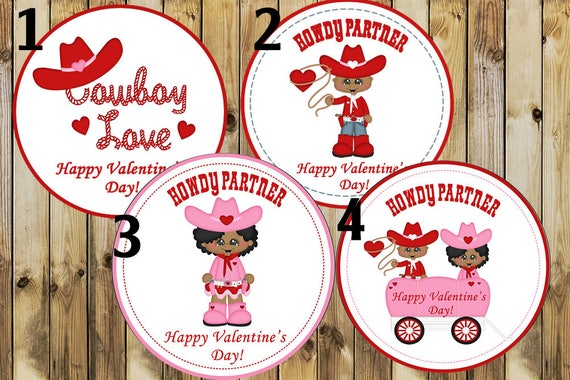 "Cowboy Love Stickers,Cowboy Love Valentine's,African American stickers,Howdy Partner Valentine's Stickers.  2"" round stickers, Set of 24"