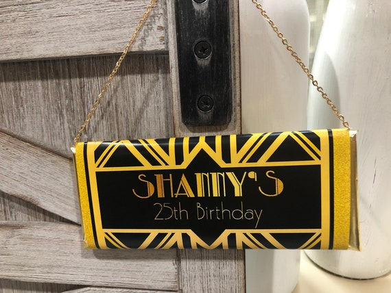 FULLY ASSEMBLED. Roaring 20s Personalized Candy Bar,Great Gatsby Party,Great Gatsby Candy Bar Wrappers,Retro Candy bar wrappers.  Set of 20.