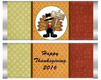 Thanksgiving Candy Bar WrappersThanksgiving party favors, Thanksgiving Guests Candy Bar Wrappers,Thanksgiving Table Favors. Set of 10.