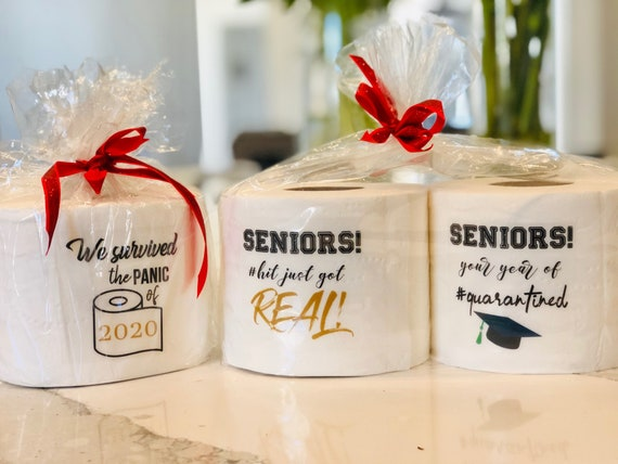 Senior Toilet Paper Stickers, Toilet Paper Stickers, Graduation Toilet Paper Stickers, We Survived the Panic of 2020 Stickers. Set of 4.