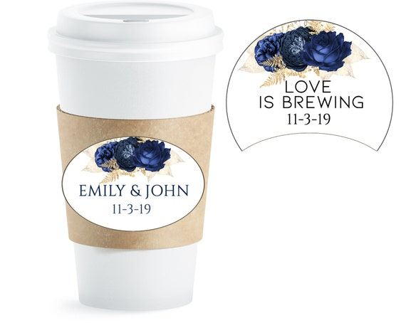 Coffee Paper Cups Blue and Gold, Blue and Gold Coffee Paper Cups, Wedding Blue & Gold Favors, Wedding Coffee Cup.Set of 20