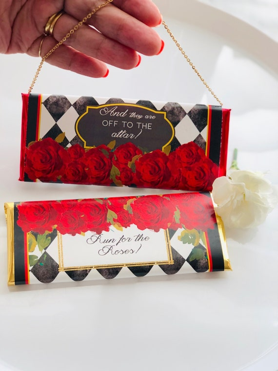 FULLY ASSEMBLED. Kentucky Derby Candy Bar Wrapper, Kentucky Derby 2020, Kentucky Derby party favors,Race for the Roses Party. Set of 20