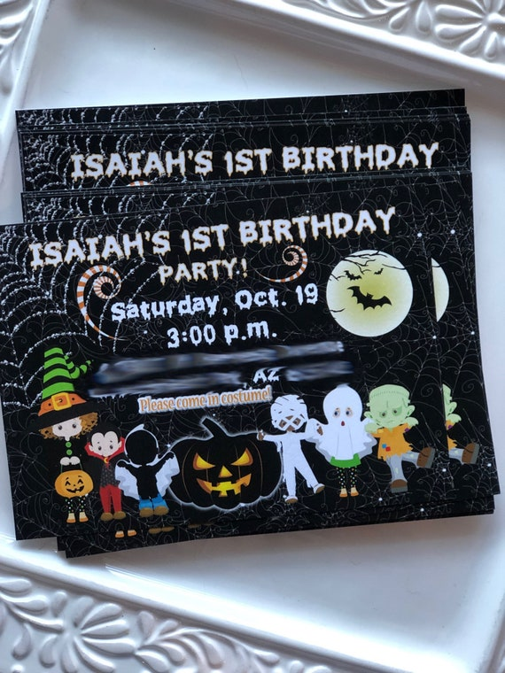 Halloween Birthday Party Invitations, Halloween Party Invitations, Halloween Invitations, Set of 24