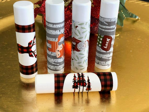 Christmas Lip Balm, Personalized Lip Balm, Holiday Lip Balm, Stocking Stuffer Christmas Lip Balm,  Set of 15 per order.