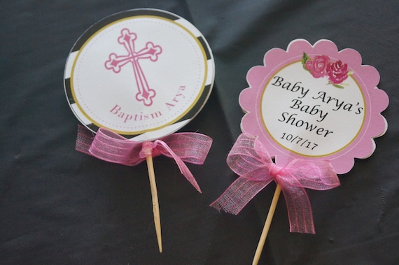 Pink cupcake Toppers,  Baby Shower Cupcake Toppers, Baptism Cupcake Topper & Wrappers, Set of 24