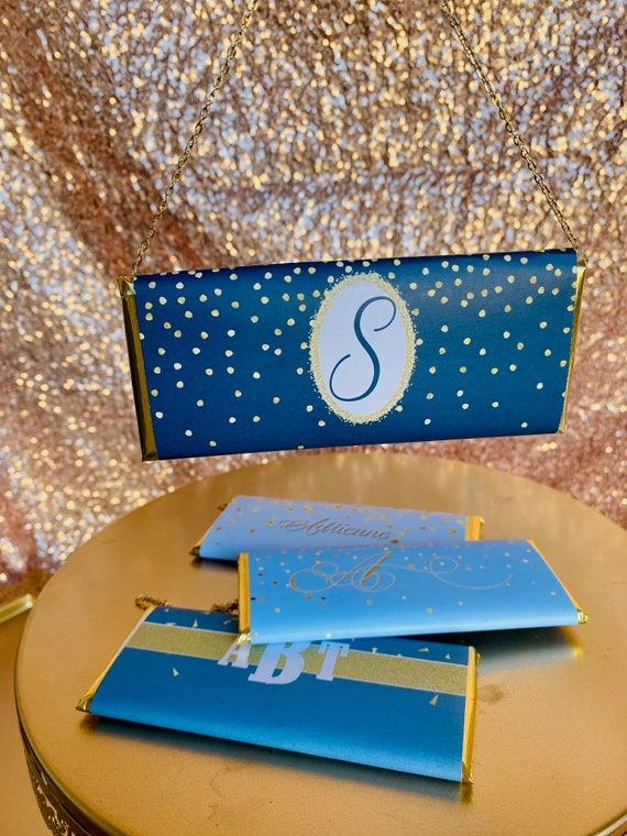 FULLY ASSEMBLED Blue and Gold Party Theme Chocolate Clutch Purses, Blue and Gold Chocolate Clutch Purse,Blue and Gold Party Favor.Set of 20.